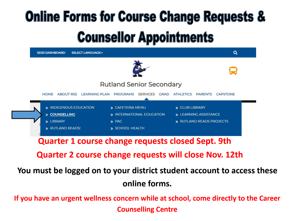 Go To Counselling Website For Online Course Change Requests