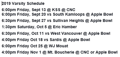 RSS Varsity Football Schedule